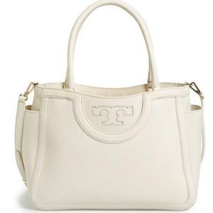 Tory Burch Serif T Ivory Leather Crossbody Satchel